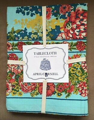 """April Cornell 70"""" Round Tablecloth Aqua Blue Floral Flowers SEVERAL AVAILABLE!"""