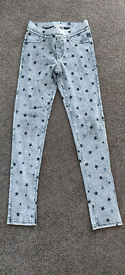 2 x H&M girls leggings size 10 grey and denim