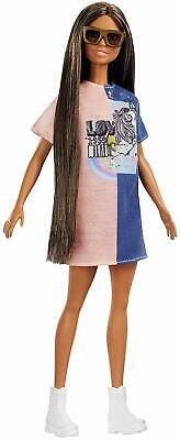 Barbie FXL43 Fashionistas Doll, 2 Tone Graphic Dress NEW & FAST