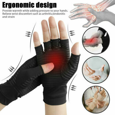 Unisex Anti Arthritis Copper Fingerless gloves compression therapy circulation