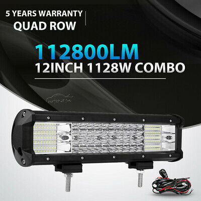 12INCH 1128W QUAD ROW LED LIGHT BAR SPOT FLOOD OFFROAD for JEEP TRUCK SUV 14/15