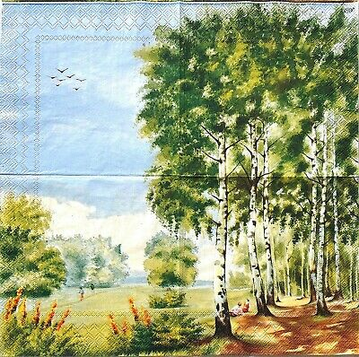 Set of 3x napkin Rare Walk in the forest for collection ,decoupage, mixed media
