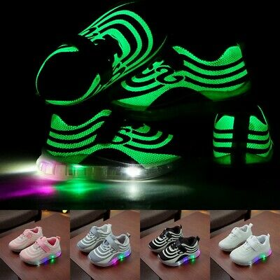Children Kid Baby Girl Boy Mesh Led Luminous Sport Run Sneakers Casual Shoes UK