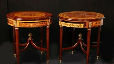 Pair Louis XVI Marquetry Inlay Cocktail Side Tables French Furniture