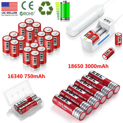 Lot EBL 3.7V 18650 16340 Li-ion Rechargeable Batteries For Flashlight + Charger