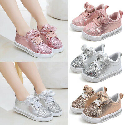 Toddler Girls Kids Trainers Shoes Sneaker Children Infant Glitter Sequin Shoes