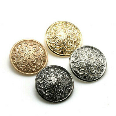 5PCS Round Metal Buttons Hollow Carved Sewing Clothes Flower Shank Buttons DIY