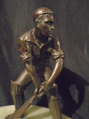 VIENNA AUSTRIAN COLD PAINTED BRONZEd ANTIQUE ORIGINAL CRICKET PLAYER STATUE RARE