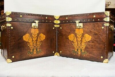 Pair Leather Travel Cases - Steamer Trunk Boxes Tables