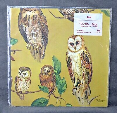 Vintage Red Farm Studio Gift Wrap Package Gold w/ OWLS Contain 2 Sheets 29 x 20""