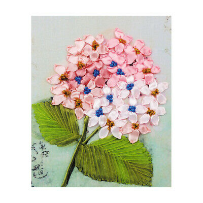 Pink Flowers Ribbon Embroidery Cross Stitch Kit for DIY Home Decor 20x25cm