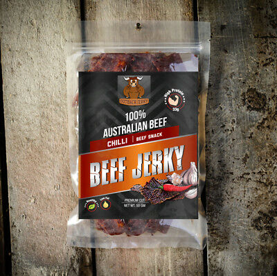 BEEF JERKY FRESH SAVOURY SNACK FOOD 50g CHILLI AUSTRALIAN DELICIOUS FLAVOUR