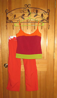 Women's medium striped Water Girl by Patagonia tank top and size 6 orange capris