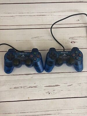 Lot 2 Genuine Sony Playstation 2 PS2 Blue Dualshock Controllers SCPH-10010