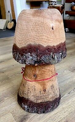 Rustic Chainsaw Carved WOOD Garden Mushroom Flat Top Stool Woodland Unique 19""