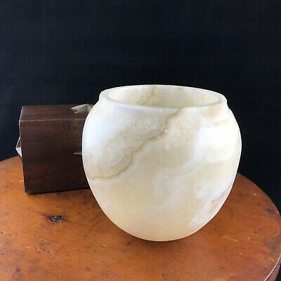 Restoration Hardware Alabaster Stone Vase Candle Holder 4""