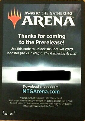 Magic: the Gathering CORE 2020 PRERELEASE 6 PACKS M20 CODE MAILED OR DELIVERY
