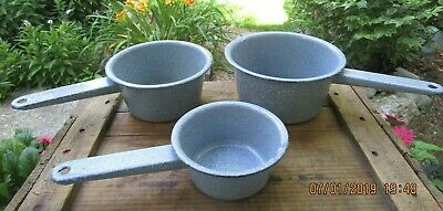 Vintage Graniteware (?) Enamelware Grey Speckled Lot of 3 Handled Pots