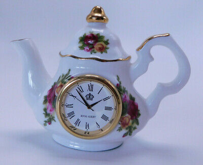 Royal Albert - Old Country Roses -  Miniature Teapot Clock