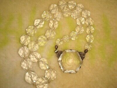Vtg. Deco Chinese Silver Carved Rock Crystal Marcasite & Faceted Bead Necklace