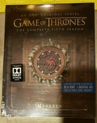Game of Thrones Season 5 STEELBOOK FIFTH (MEEREEN) Blu-ray/Digital NEW LAST SET
