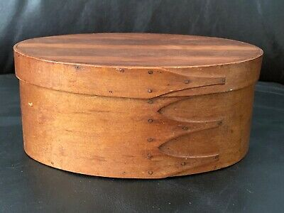 Authentic Antique 19th C. Oval Shaker Box, 4-fingers, New Lebanon, NY. AAFA