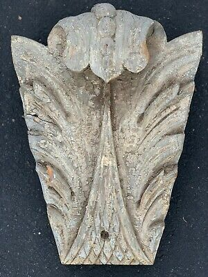 Large Antique 19th C. Carved Wood Architectural Salvage Keystone Chip Paint.AAFA