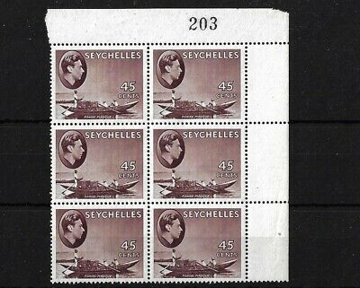 Seychelles Sg143A, 45C Ord Paper Mnh Block With Sheet No 203