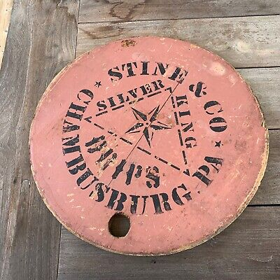 Antique19th C. Barrel Lid/Top in Original Salmon Paint, Chambersburg, PA. AAFA