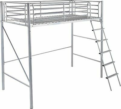 Silver Single High Sleeper Bed Frame Metal Bunk Bed Single