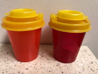 Vintage Tupperware Midget 101 Salt and Pepper Shakers NEW - Red Yellow