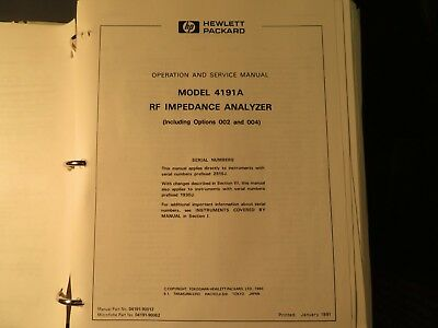 HP 4191A RF Impedence Analyzer operation & service manual 4609