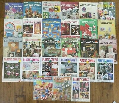 Lot 27 Plastic Canvas Pattern Books Magazines and Leaflets Vintage