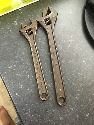 """Bahco 15"""" 12"""" 0674 0673 Adjustable Spanner Wrench X2 @nr"""