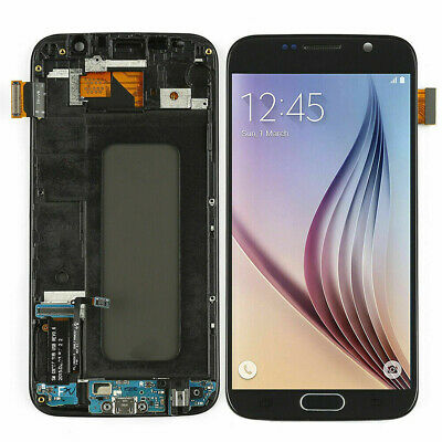 Black For Samsung Galaxy S6 G920 SM-G920F LCD Display Touch Screen +Frame AAAUS