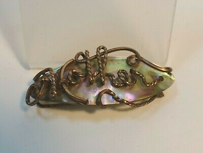 """LDR2-y VICTORIAN MOTHER OF PEARL NAME BROOCH """"MOTHER"""" antique late 19th-early 20"""