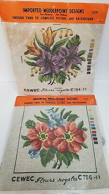 2x Sealed Vintage CEWEC Flower Floral Needlepoint Designs Picture Pillow 8.5x8.5