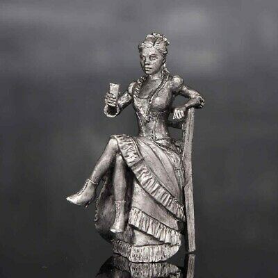 Saloon Mistress Metal Toy Soldier 54mm Girl Figurine Woman Painted Tin Female