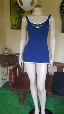 PINUP Navy Bathing Suit Swimsuit Dress Playsuit BOMBSHELL VTG 60s Catalina M