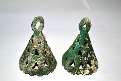 Pair of Museum Quality Ancient Bronze Age Bronze Horse Head Decorations Bells