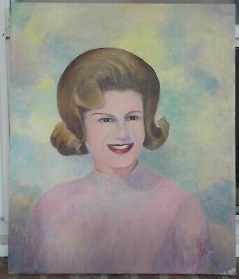 Vintage Mid-Century KITSCHY Cool Woman PINK Sweater Outsider Amateur ART c1960s