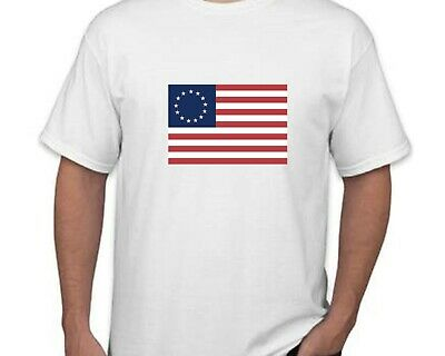 Betsy Ross Historic Colonial Flag 13 Star American USA White Cotton T-shirt