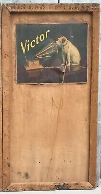 Antique RCA Victor Victrola Shipping Crate Panel Advertising Sign Nipper Dog