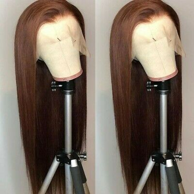 """AU 24"""" Brown Handtied Party Lace Front Wig Synthetic Hair Women Long Straight"""