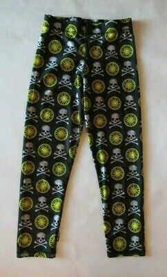 NWOT SOULCYCLE ZARA TEREZ CROP LEGGINGS BLACK WHITE SKULLS YELLOW WHEELS sz XS