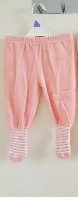 Baby Girls Peach Pink Joggers/Jogging Pants with socks Feet 6-9 Months Twins?