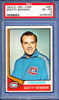 1974 OPC SCOTTY BOWMAN o-pee-chee rookie # 261 canadiens psa EX - MINT RC
