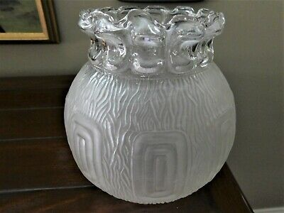 Vintage Art Deco Frosted Etched Glass Greek Key Ceiling/Lamp Globe