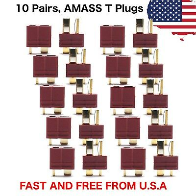10 Pairs Amass T Plug Male & Female Connectors Deans Style For RC LiPo Battery