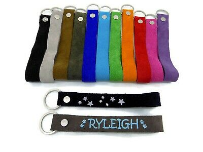 Personalized Suede Keychain Wristlet Genuine Leather Custom Keyring Key Chain